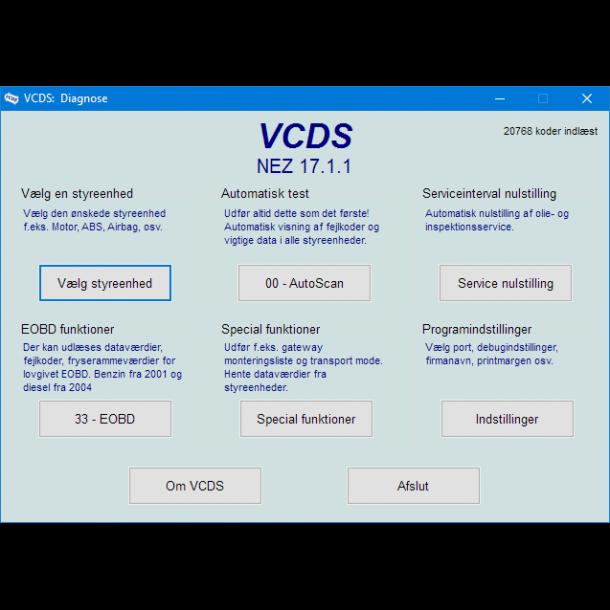 Omkodning til dansk VCDS